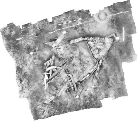 """dreidimensionale Punktwolke (Structure from Motion) zu """"digitalen Konservierung"""" des zerstörten Wrackbefundes der """"Warnemünder Jolle"""" (c) Martin Siegel"""