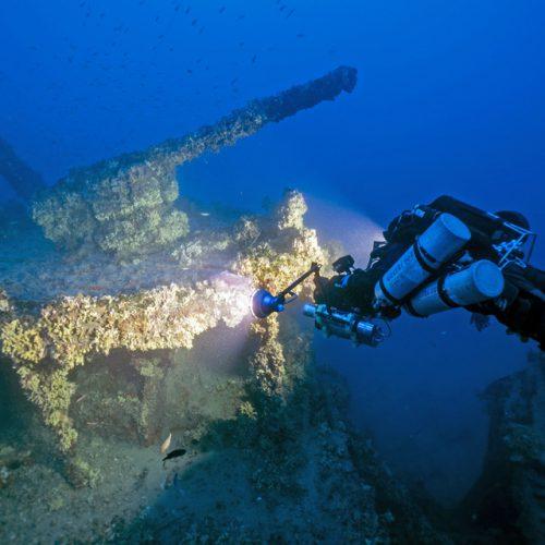 In 67m Tiefe liegt die Schaluppe Nasturtium vor Marsaskala © D. Gration/University of Malta