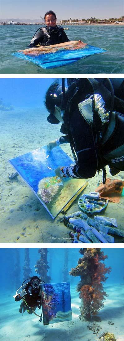 Olga Nikitina malt die Unterwasserwelt